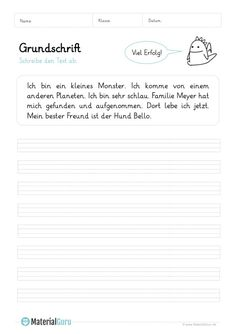 Grundschrift - MaterialGuru German Language Learning, Kindergarten, Study, Teaching, Education, School, Kids, Learning To Write, Kids Learning