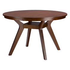 A warm and inviting centerpiece to gather around.  This is a 4 ft. mid-century modern round dining table with curved legs.  It can also be a center table for an entryway or foyer with a chandelier above it depending on the size of the space.  The 4 foot round dining table is inspired by the mid-century style design with a contemporary art deco twist.  It features solid rubberwood top with an open shelf for the storage of plates and condiments.  It can sit 6-8 people comfortably.  Made in…