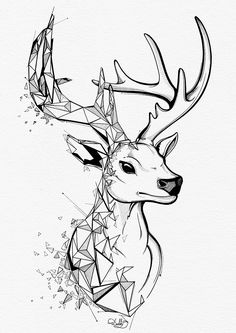 the second deer. Abstract Pencil Drawings, Abstract Sketches, Geometric Drawing, Art Drawings Sketches, Animal Sketches, Animal Drawings, Cervo Tattoo, Deer Drawing, Geometric Deer