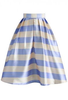 Pestal Blue Striped Midi Skirt