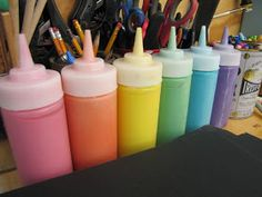 Make homemade, non-toxic puff paint and store it in plastic ketchup bottles. So fun for kids. Genius idea!
