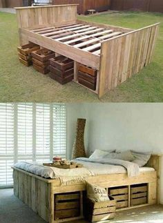DIY high pallet futon bed with crate storage drawers. DIY high pallet futon bed with crate storage drawers. Diy Pallet Bed, Diy Pallet Furniture, Diy Furniture Projects, Diy Pallet Projects, Furniture Design, Garden Furniture, Pallet Bedframe, Wood Furniture, Pallet Futon