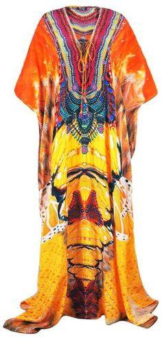 21af55ee9f977 Shahida Parides - Long Printed Lace-Up Caftan Dress In Avatar Papaya
