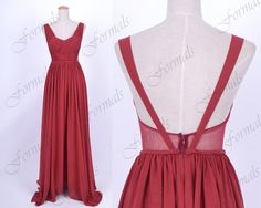 Red Long Prom Dresses, Floor Length Straps V neck Chiffon Wine Red Prom Dresses, Formal Gown, Long Evening Gown, Wedding Party Dresses on Etsy, $139.00