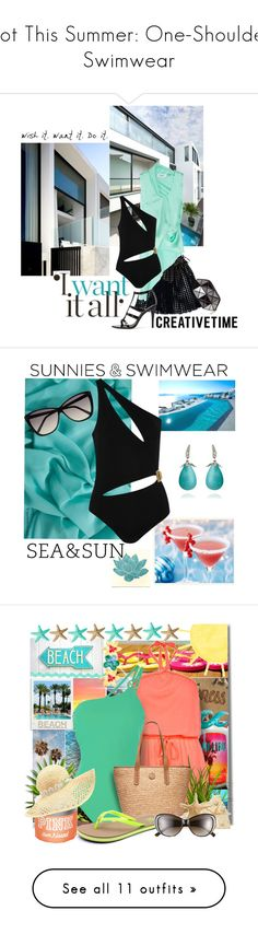 """""""Hot This Summer: One-Shoulder Swimwear"""" by polyvore-editorial ❤ liked on Polyvore featuring swimwear, one-piece swimsuits, swimsuit, bikinis, bathing suits, swim, black, cut out swimsuit, bathing suits bikini and cut-out bathing suits"""
