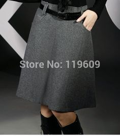 Cheap 2014 faldas de invierno más tamaño engrosamiento de lana faldas moda noble elegante de lana mujeres falda gris y negro color de envío gratis, Compro Calidad Faldas directamente de los surtidores de China:    Female skirts 2014 spring new arrival professional skirts work wear ol half-length slim hip formal skirt S, M, L