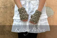 Knit my Cozy Cabled Mitts!  Cozy and warm, these delightful fingerless mitts boast an allover bold cabled pattern. Easy and fun to knit ~