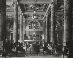 The lobby of The Willard Hotel in Washington DC in the early 1900's.