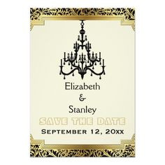 Chandelier Wedding Invitations Art Deco chandelier wedding Save the Date Card
