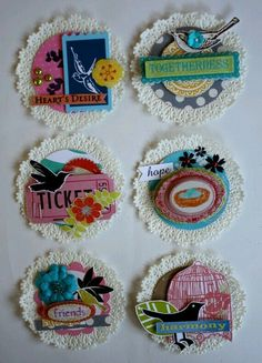 doily embellishments -- like the idea of incorporating ticket stubs into embelli. doily embellishments — like the idea of incorporating ticket stubs into embellishments. Diy And Crafts, Paper Crafts, Arts And Crafts, Tarjetas Diy, Deco Table Noel, Paper Doilies, Paper Rosettes, Candy Cards, Scrapbook Embellishments