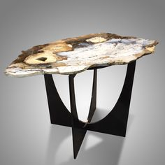 Ocean Agate Table on Patinated Steel Base. Ocean Agate is comprised of a pure opaque white quartz, highlighted by clear bluish quatz. The contrasting red and brown marks are hematite and limonite. This and more contemporary art for sale on the CuratorsEye.com