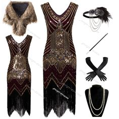 Womens 1920s Costume Flapper Gatsby 20s Party Prom Evening Cocktail Dress 6-20 #Unbranded #MaxiDress1920s1930sGatsbyThemedChicagoCharleston #NewYearEvePartyCocktailChristmasParty
