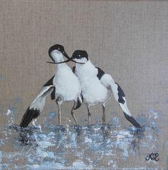 """Tableau oiseau """"Avocettes"""", peinture animalière sur toile de lin naturel."""