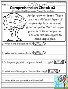 Reading Comprehension Checks for September- Monthly NO PREP Comprehension Checks… You are in the right place about Reading Comprehension elementary Here we offer you the most beautiful pictures about First Grade Reading Comprehension, Reading Comprehension Worksheets, Reading Fluency, Reading Passages, Kindergarten Reading, Reading Skills, Teaching Reading, Comprehension Strategies, Reading Response