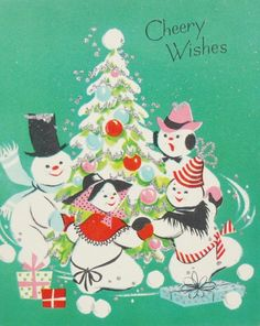 Cheery Wishes. Vintage Christmas Card.