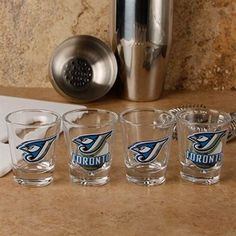 I soooo want these for my shot glass/Jays paraphenalia collections Shot Glass Set, Mlb Teams, Toronto Blue Jays, Cheer, Collections, Baseball, Rock, Night, Drinks