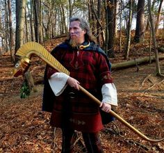 Ancient Celtic Standard Bearer - Judging by his face paint, he is most likely a Briton.