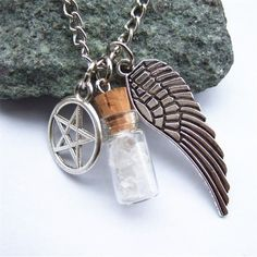 Silver Tone Supernatural Protection Necklace Angel Wing Pentagram With Salt Bottle Pendant Chain Necklace Supernatural Angel Wings, Supernatural Necklace, Supernatural Merchandise, Supernatural Fans, Supernatural Fashion, Pendant Jewelry, Pendant Necklace, Necklace Chain, Diy Necklace