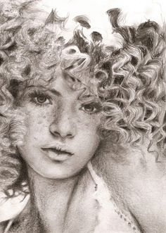 curly hair. pencil