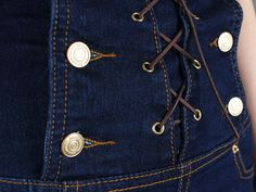 Aliexpress.com: Comprar 2014 recién llegado de más mujeres de cintura alta babero pantalones de cintura alta mujeres suspender jeans pantalones cortos de mezclilla doble botonadura 5XL 6XL de traje pantalón confiables proveedores de Urzone_My Fair Lady.