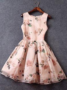 Slim Printing Organza Sleeveless Dress