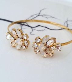 White opal bracelet,champagne bracelet,Bridal Bracelet,Swarovski Bracelet,Bridal Cuff,Bridesmaids Jewelry,Cuff Bracelet,Open cuff Bracelet