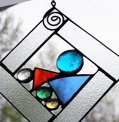 Stained Glass Window Panel - Square - Mini -Multi Colored -  Home & Garden. $26.50, via Etsy.