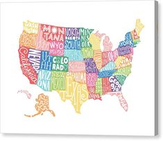 Colorful, illustrated United States Map - Hand Lettered Canvas Print featuring the Hand-lettered Typographic Map - Perfect Nursery Art or Children's bedroom art - Rainbow theme American map