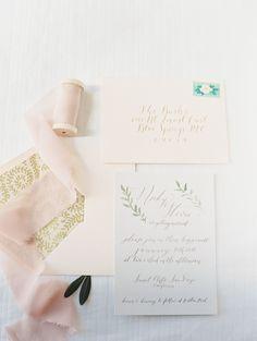 Calligraphy blush invitation
