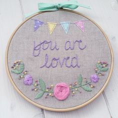 New Baby Gift // Embroidery Hoop Art // New Home by KnittyKnotts
