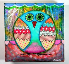 Original Painting - Mixed Media - Acrylic Paint - 5x5 canvas - Collage Owl on Etsy. $45.00, via Etsy.