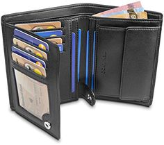 Hommes cuir véritable Porte-carte noir boîte cadeau Ultra Slim Soft /& élégant NOUVEAU