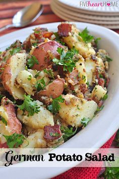 Omit bacon_German Potato Salad ~ a perfect side dish for a summertime dinner from the grill, picnic, or holiday potluck | FiveHeartHome.com