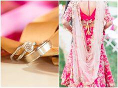 Celebration Farm Indian wedding; Indian Hindu wedding; pink reception sari; Indian reception clothes; bridal couple photos