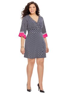 Plus Size ROBBIE BEE Wrap Dress In Chainlink Print