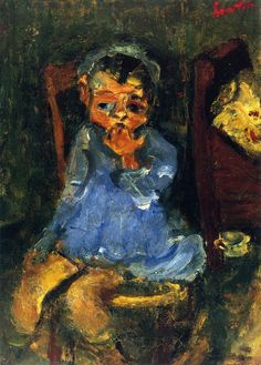 chaïm soutine(1894-1943), seated child in blue, c. 1937. oil on panel, 33 x 23.5 cm. private collection http://www.the-athenaeum.org/art/full.php?ID=56771