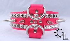 Long Spiked Hot Pink Leather Dog Collar with Studs on Etsy, $21.78