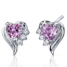 Created Pink Sapphire Earrings Sterling Silver Heart Shape CZ Accent * Visit the image link more details.(This is an Amazon affiliate link)