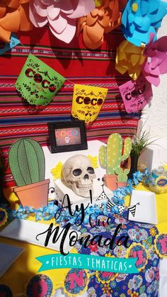 The party decorations at this Disney Coco Birthday Party are awesome! Love the bright colors!! See more party ideas and share yours at CatchMyParty.com #catchmyparty #disneycoco #disneycocobirthdayparty #rememberme