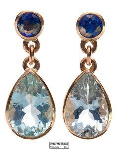 aquamarine and sapphire drop earrings