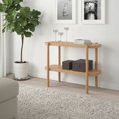 IKEA - LISTERBY, Console table, white stained oak, The natural bright wood finish and the rounded lines give the table a light and soft look. Practical storage space underneath the table top. Buffet Table Ikea, Table Console Ikea, Ikea Side Table, White Side Tables, Sofa Tables, Entry Tables, Solid Oak Table, Oak Table Top, Ikea Family