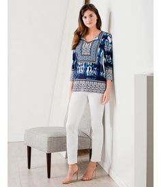 Jones New York Moroccan Ikat Print Knit Jersey Tassel Tie-Neck Tunic