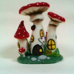 Toadstool Fairy House. OOAK Needle Felted fairy house. Felt