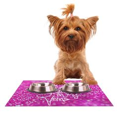 Kess InHouse  Beth Engel 'Born with Glitter' Pink Sparkle Pet Bowl Placemat for Dog and Cat Feeding Mat, 18-Inch by 13-Inch -- New and awesome cat product awaits you, Read it now  : Cat items