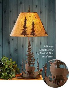 5177867565:Tree and Whitetail Deer Lamp