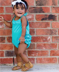 fd31849325d5 Key West Pom Pom Bubble Romper - RuffleButts.com Bright and Blue our Key  West