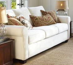 PB Buchanan Roll Arm Upholstered Deluxe Sleeper Sofa for the office when family visits (in Performance Canvas, Driftwood)
