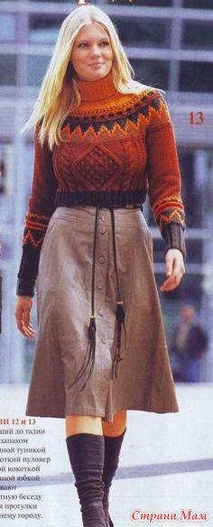 Короткий свитер с круглой жаккардовой кокеткой Fluffy Sweater, Pullover, Knitwear, Jumper, High Waisted Skirt, Crochet, Vest, Wool, Hoodies