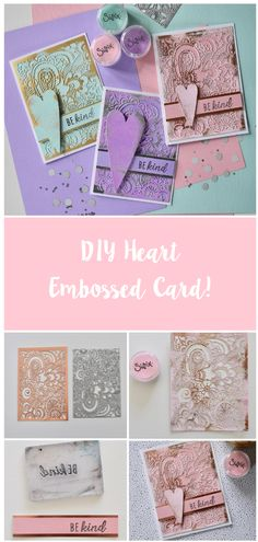 Create a beautiful embossed card! Click the link for how to make! Card Making Templates, Card Making Kits, Making Ideas, Button Family Picture, Die Cut Cards, Card Making Techniques, Christmas Gift Wrapping, Heart Cards, Handmade Birthday Cards