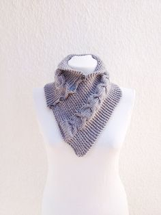 Grey  neckwarmers with buttonChunky  Scarf by NesrinArt on Etsy, $24.00